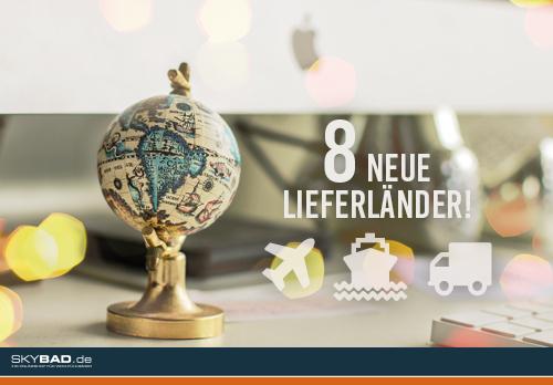Skybad.de erweitert das Angebot an Lieferländern