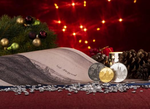 """Degussa verewigt den """"Stutengarter"""" Weihnachtsmarkt auf Thaler in Gold und Silber"""