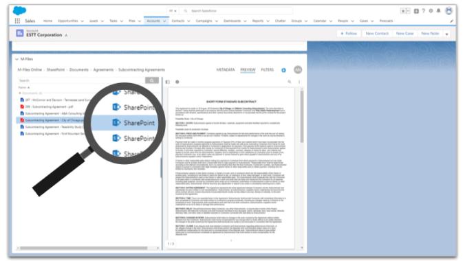 M-Files Ground Link verbindet Salesforce mit Dokumenten in lokalen SharePoint-Bibliotheken