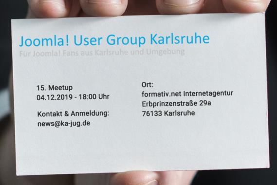 Meetup der Joomla User Group Karlsruhe am 4. Dezember 2019
