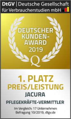 1. Platz für Preis/Leistung – Jacura erzielt Top-Ergebnis beim Deutschen Kunden-Award 2019 für Pflegekräfte-Vermittler