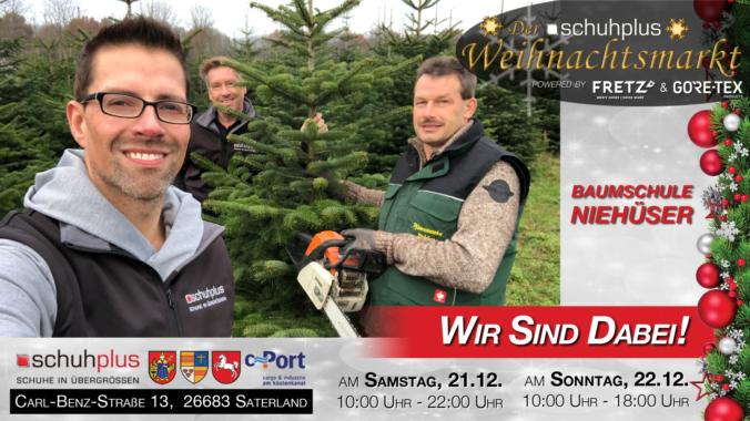 Der erste schuhplus – Weihnachtsmarkt mit Tannen vom Pflanzencenter Niehüser aus Sedelsberg