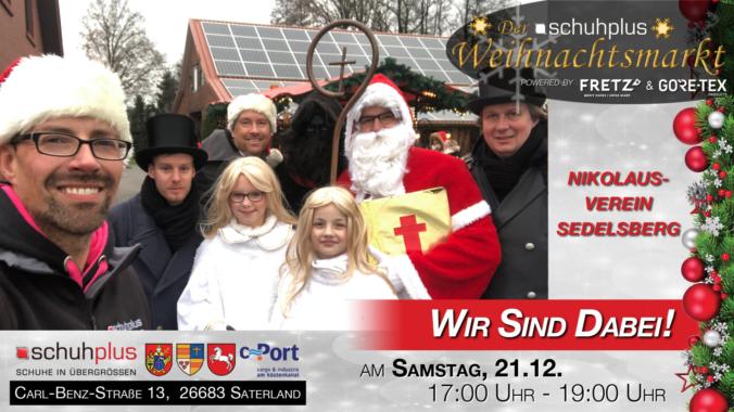 Nikolaus, Knecht Ruprecht und Engel beim ersten schuhplus – Weihnachtsmarkt in Sedelsberg