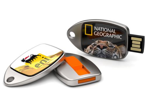 """Kronenberg24 stellt vor: USB Stick """"Fin"""" mit großer Logofläche und zum Tragen am Schlüsselbund"""