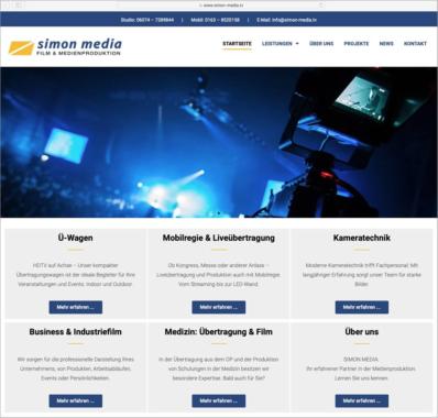 SIMON MEDIA Film und Medienproduktion präsentiert sein Angebot auf einer neuen Internetseite