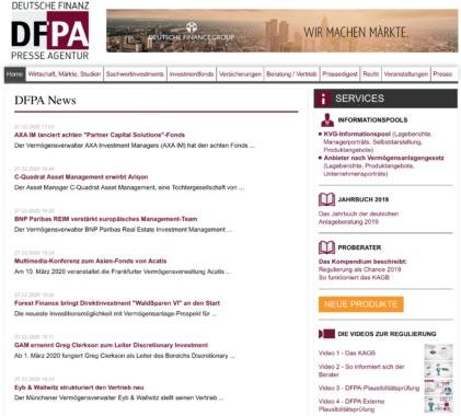 Tagesaktueller Finanznachrichten-Überblick der DFPA Deutsche Finanz Presse Agentur