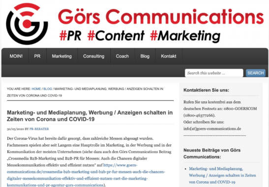 Görs Communications rät zur digitalen Marketing- und Mediaplanung in Zeiten von Corona und COVID-19