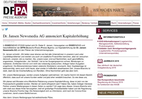 Dr. Jansen Newsmedia AG annonciert Kapitalerhöhung