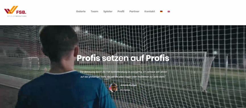 """Fit im Web: Dynamischer """"One-Pager"""" für FSB Spielerberatung"""