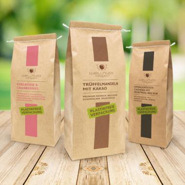 Für edlen Genuss mit gutem Gewissen – Wellnuss Premium Snacks wird plastikfrei