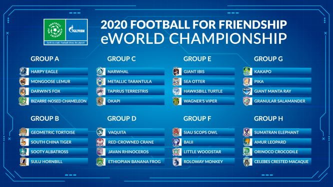 """Auslosung der Gruppen: Kinder aus mehr als 100 Ländern nehmen an den """"Football for Friendship"""" eWorld Championships 2020 teil"""