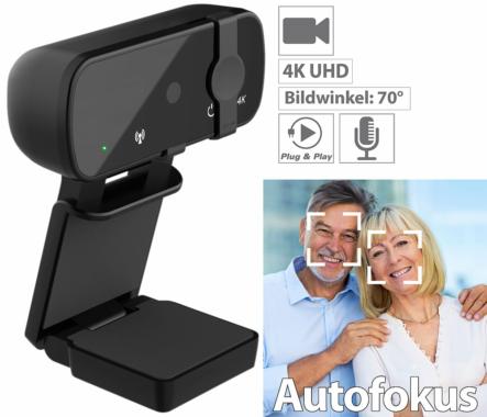 Somikon 4K-USB-Webcam mit Linsenabdeckung und Autofokus