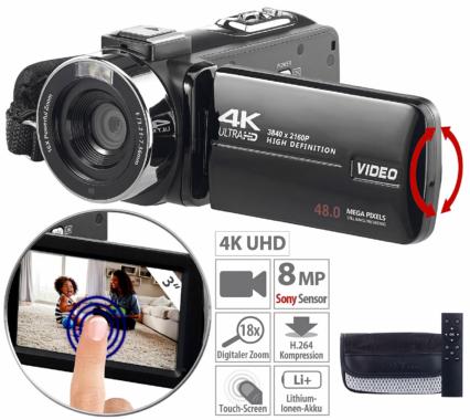 Somikon 4K-UHD-Camcorder DV-860.uhd mit Sony-Sensor