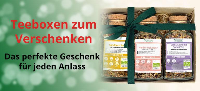 Freude schenken mit liebevoll verpackten Teeboxen von AURESA