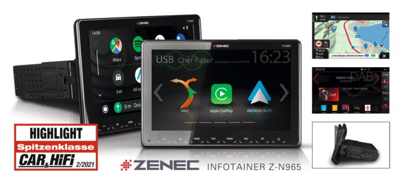 """Great Multimedia Car Radio: ZENEC""""S 1-DIN System Z-N965"""